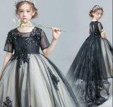Prom robes fille fleur noir manches courtes robe dentelle robe de bal de fille F2014622
