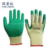 покрынный латекс перчатки безопасности 21g Polycotton ровный