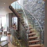 Escaleras curvadas metal usadas con diseño de madera o de cristal de la escalera de la pisada