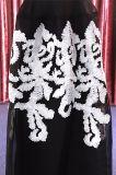 2018本のばねの長い袖白黒党イブニング・ドレス