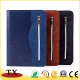 Cuaderno elegante de cuero del asunto del diario de la PU con la cremallera