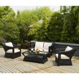 Cadeiras e tabela pretas dos restaurantes do Rattan para o Sell
