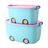 Los niños de plástico con ruedas para cajas de almacenamiento de juguete
