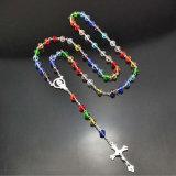 ROSENBEET-Kreuz-Halskette der spätester Entwurfs-fromme Rosenbeet-6mm Glas(IO-cr406)