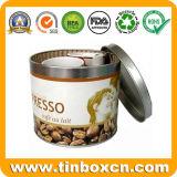 Verpacken der Lebensmittel ringsum Zinn-Kästen, Metallgeschenk-Blechdosen