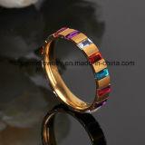 Anillo plateado oro de la joyería de la piedra del cuadrado del circonio del anillo del acero inoxidable (CZR2569)