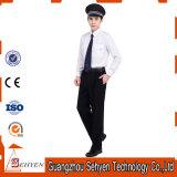 Insiemi bianchi dell'uniforme della protezione di obbligazione delle camice del cotone e dei pantaloni del nero