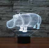 Nouvelle lampe de table colorée, Rhino Visual LED 3D Night Lights pour cadeau d'anniversaire
