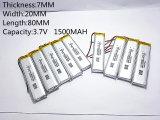 cellules de batterie rechargeables d'ion du polymère Li-PO Li de lithium de 3.7V 1500mAh 702080 pour la batterie mobile de MP3 MP4 MP5 GPS PSP Bluetooth