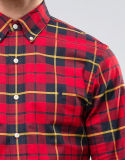Overhemd van uitstekende kwaliteit van de Mensen van de Douane van de Rode Lente het Flanel Geweven Slanke Geschikte