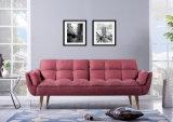 Домашняя кровать софы ткани пинка мебели с деревянными ногами (HC113)