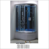 타원형 모양 쟁반을%s 가진 뒤집을 수 있는 코너 호화스러운 강화 유리 안마 상자 증기 샤워실