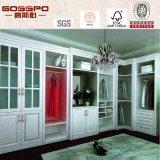 Armario blanco de pintura dormitorio con puerta de vidrio tipo persiana (GSP9-013)