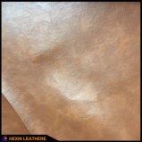 Couro sintético gravado do plutônio da grão para as sapatas Hx-1701A