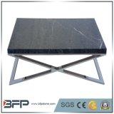 Черная скачками квадратная каменная мраморный квадратная верхняя часть журнального стола для обеда