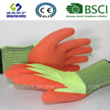 安全Glovescutのサンディのニトリルの上塗を施してある安全手袋が付いている抵抗力がある安全作業手袋