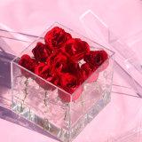 Caja de embalaje de acrílico clara impermeable de /Rose del rectángulo de almacenaje de la flor