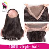 Шнурка волос 360 продуктов волос закрытие бразильского прифронтовое прямо