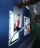 Scatola chiara di cristallo del pannello magnetico sottile del LED per le pubblicità di pubblicità appendente