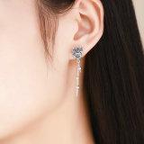 925 순은 여자 보석 절묘한 새겨진 동물성 귀걸이를 위한 긴 공작 술 귀걸이