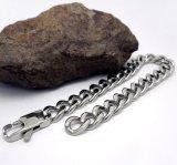 Anti-allergique de noir d'argent de bracelets à chaînes d'hommes de bijou d'acier inoxydable