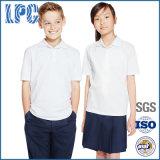 学生の男女兼用の純粋な均一綿のポロシャツ