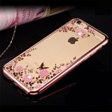 Rose Gold TPU Plating Clear Shiny Rhinestone Cover Case Series para iPhone 7 4.7 polegadas