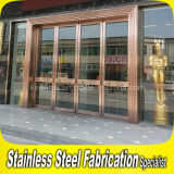 Golden Luxury Exterior Metal aço inoxidável Swing Security Glass Entry Door