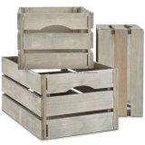 Conjunto de 3 a armazenagem de madeira caixas dobráveis cinzento rústico Exibir Caixas Caixas de armazenamento