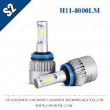Indicatore luminoso capo della PANNOCCHIA LED di S2 H11 con la lampadina della testa dell'automobile degli accessori LED dell'automobile del ventilatore 12V 8000lm