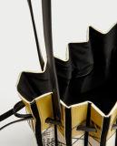 De afgedrukte Zak van de Emmer van het Leer met Blaasbalgen Designdetails