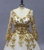 Herrliche weiße moslemische Hochzeits-Kleider mit Goldspitze Appliques Brautkleid-lange Hülsen