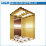 Gearlessの機械Roomless Luxurious Titanium Golden Mirror Passenger Elevator