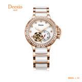 Señoras reloj de diamantes de cerámica de fondo de caja de acero inoxidable 5ATM Resistente al agua de la banda de cerámica reloj automático de la mujer
