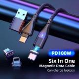 6 в 1 магнитных данных USB кабель для зарядки 2020 новых PD100W 11контакт C USB порт для всех телефонов питающего провода