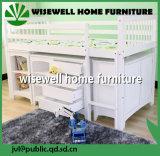 De solides en bois de pin lit faible Loft avec bureau