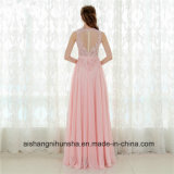 A - линия розовая шифоновая длинняя шикарная безрукавный мантия выпускного вечера