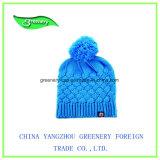 Шлем Knit зимы вышивки выдвиженческого способа серый