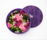 Cadre de empaquetage de velours de fleur pourprée ronde de Rose
