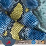 Het Leer van pvc van de Huid van de Slang van Faux voor het Maken van de Stof van het Leer van Snakeskin van Zakken in China