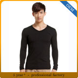 Vente en gros T-shirt 100% coton à manches longues à col V