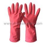 розовый брызг 50g Flocked перчатка латекса домочадца с Ce