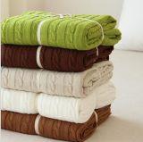 Одеяло связанное кабелем, одеяло Knit, хлопок связало одеяло