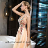 Robe de bal d'étudiants de V-Collet sexy de fleur de lacet de Champagne de banquet la longue