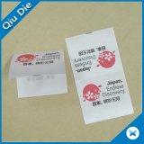 Satén impresos personalizados de atención de lavado de ropa de etiqueta Etiqueta