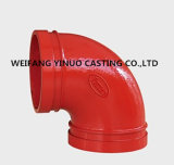 La fonte ductile coude à 90 degrés FM/Homologué UL (raccord de tuyau cannelé)