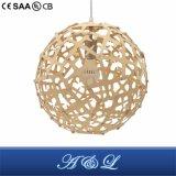 Lâmpada pingente de estilo estilo bola de madeira popular com bom preço