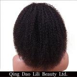 Das perucas Curly Kinky Mongolian do cabelo humano da parte dianteira do laço das perucas do Afro do cabelo de Remy da beleza de Lili linha natural com cabelo do bebê para mulheres pretas