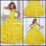 Желтый Organza отбортовывая кристаллический мантию F131226 шарика платья девушки цветка