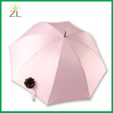 Parapluie droit frais marqué intéressant de pongé de fleur de bonne qualité à vendre avec le long traitement